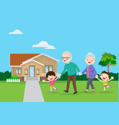 Grandparents with kids are walker near house vector