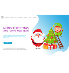 greeting major card with christmas tree and santa vector image