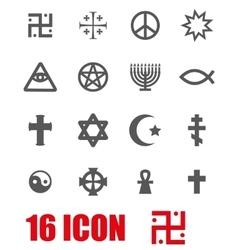 grey religious symbols set vector image
