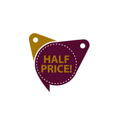 half price tag template isolated vector image