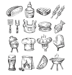 hand draw barbecue vector image