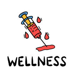 Hand draw doodle wellness medical syringe icon vector