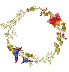 Handpainted watercolor wreath design ele vector