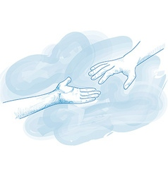 hands for help in blue tones vector image
