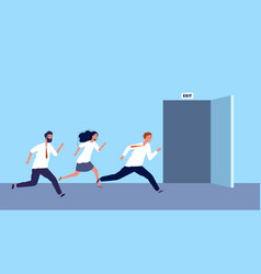 happy business people run to exit weekend started vector image