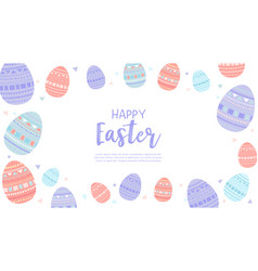 happy easter wallpaper with eggs vector image