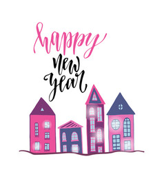 happy new year poster with cute houses bright vector image