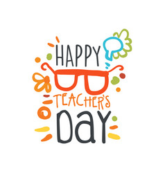 Happy teachers day abstract greeting card vector
