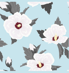 Hibiscus flowers seamless pattern white blue grey vector