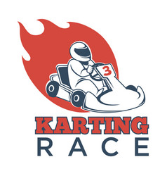 Karting race logotype with driver in helmet and vector