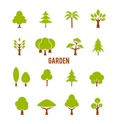 large garden with a variety trees vector image