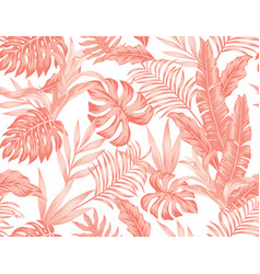 Living coral tropical leaves flowers seamless vector