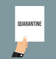 Man showing paper quarantine text vector