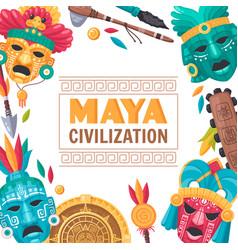 Maya civilization poster vector
