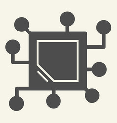 memory chip solid icon cpu vector image