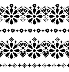 mexican folk seamless background - black vector image