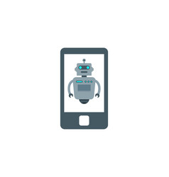 mobile robot logo icon design vector image