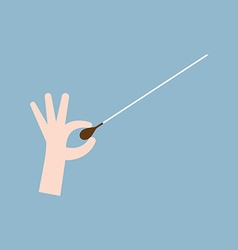 Music orchestra conductor hand with baton vector