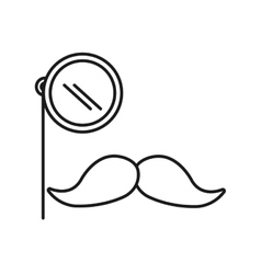 mustache and glass gentleman icon vector image
