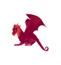 Mythical mythological red flying dragon character vector