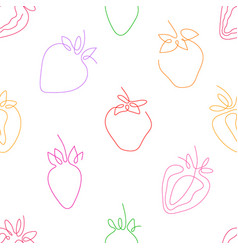 One line art style strawberry seamless pattern vector