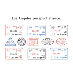 passport stamps los angeles usa arrival and vector image