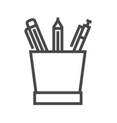 Pencil stand line icon vector