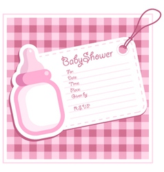 Pink bottle baby shower card vector