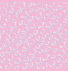 pink color heart and star shapes seamless texture vector image