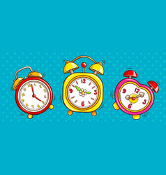 Pop art alarm clocks set on half tone background vector