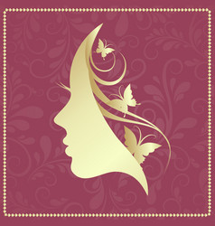 Profile of a girl with butterflies vector