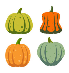 Pumpkin flat icon ripe gourd fall harvest set vector