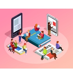 Reading People Isometric Composition vector image