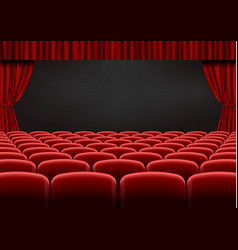 Red open curtain with seats in theater velvet fab vector