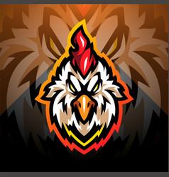 Rooster head esport mascot logo vector