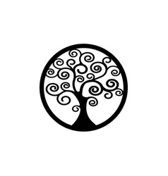 Sacred tree round tree life icon natural logo vector