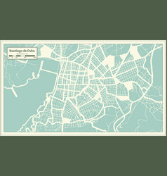 Santiago de cuba city map in retro style outline vector