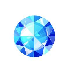 Sapphire blue round diamond isolated vector