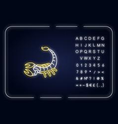 Scorpio zodiac sign neon light icon vector