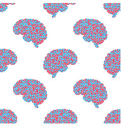 seamless pattern of the brain vector image