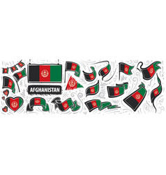 Set national flag afghanistan vector