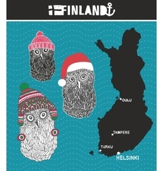 Set of cute owls from Finland vector image