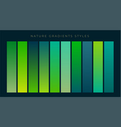Set of fresh green gradients background vector