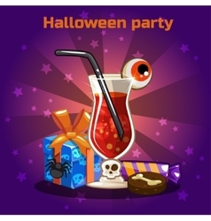 Set of icons cocktails and sweets for Halloween vector
