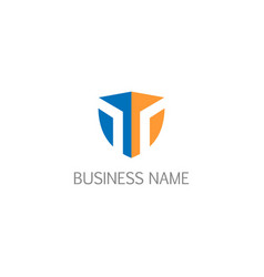shield initial protect business logo vector image