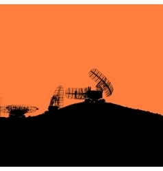 Silhouette military radar dish vector