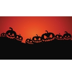 Silhouette of Halloween pumpkins vector