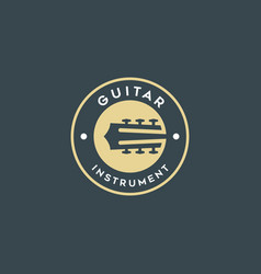 simple guitar icons negative space logo vector image