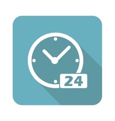 Square 24 hours icon vector