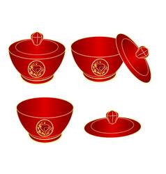 sugar bowl of red porcelain gold ornament heart vector image